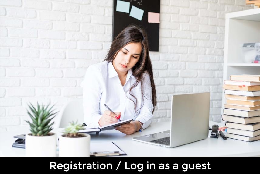 Bild mit Link zur Anmeldeseite und Registrierung